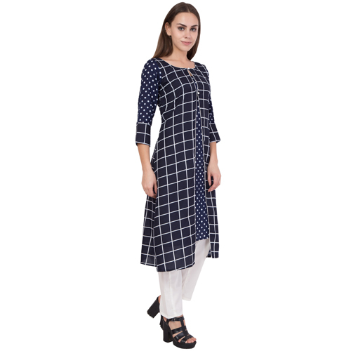 Women's Long Checks Kurti With Straight Pant