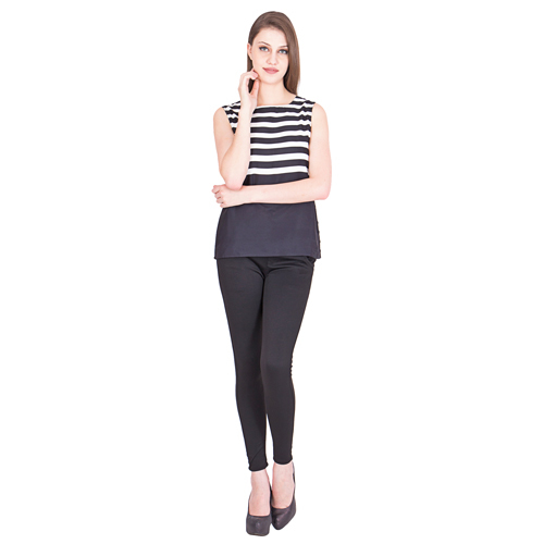 Ladies Striped Black Top