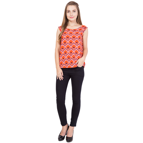 Ladies Orange Printed Top