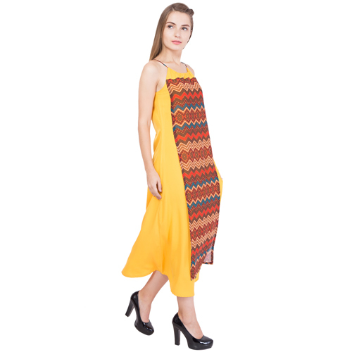Ladies Layered Yellow Printed Dress