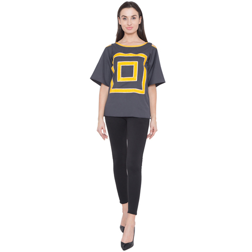 Women Grey Straight Fit Crepe Top