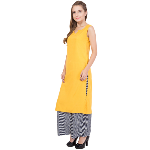 Ladies Yellow Kurti With Palazzo