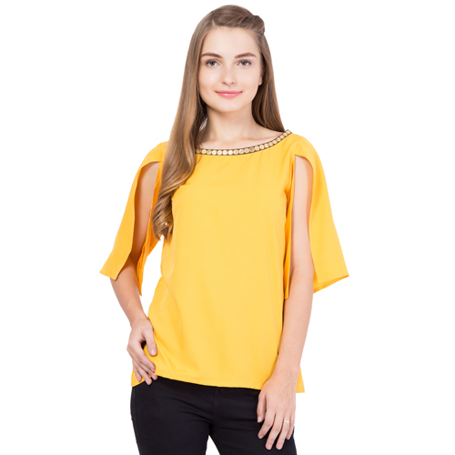 Womens Yellow Embroidered Slit Top