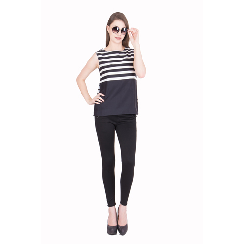 Womens Striped Black Top