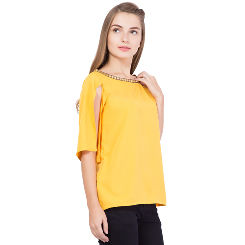 Yellow Embroidered Slit Top