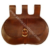 Medieval Leather Pouch with brass buckle