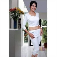 Ladies White Plain Thermal Inner Suit