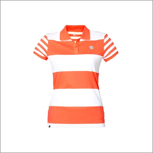 Women Striped Polo T-Shirt