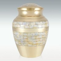 Large Brass Mother of Pearl Cremation Urn Engravable