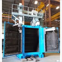 DOUBLE DOOR SPINNER HANGER SHOT BLASTING MACHINE