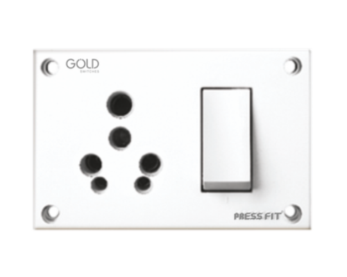 Press Fit Gold 3-in-1 6/16 Amp. Indian Switch Socket Combined