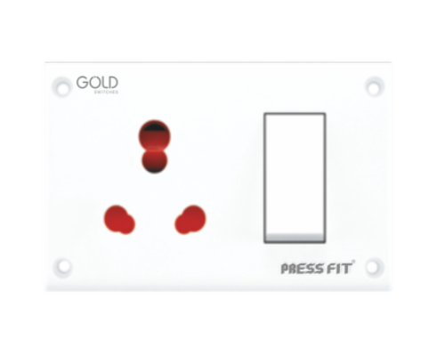 Press Fit Gold 3-in-1 6/16 Amp. Universal Switch Socket Combined