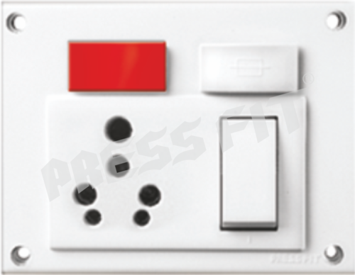 Press Fit Gold 5-in-1 6/16 Amp. Indian Switch Socket Combined