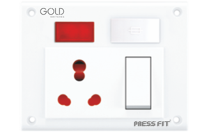 Press Fit Gold 5-in-1 6/16 Amp. Universal Switch Socket Combined