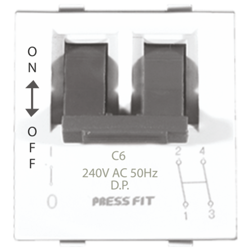 Press Fit Edge Double Pole Modular MCB Switch