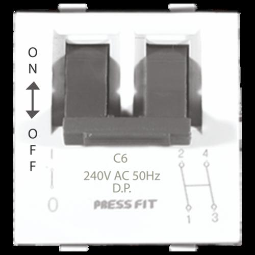 Press Fit Edge Double Pole Modular MCB Switch