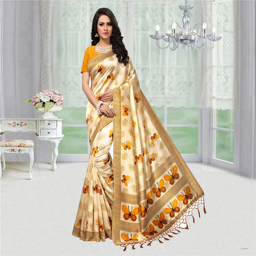 Animal Print Mysore Silk Saree