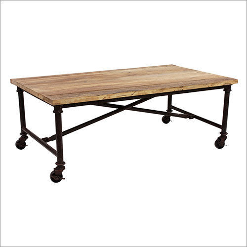 Wood Metal Table With Wheels
