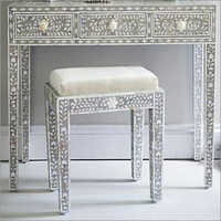 Bone Inlay Dressing Table With Stool