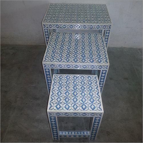 Bone Inlay Table Set of Three