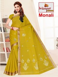 100 % Cotton Embroidery Saree
