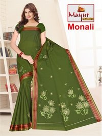Ladies Cotton Embroidery Work Saree