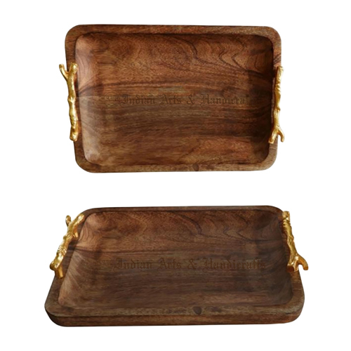 Wooden Tray Aluminum Handle