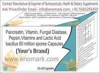 Pancreatin, Vitamin, Fungal Diastase, Pepsin, Vitamins & Lactic Acid