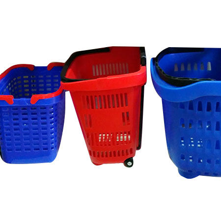 Plastic Shopping Basket With Wheel
