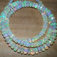 Natural Ethiopian Opal Stone Beads Faceted Rondelle Strand