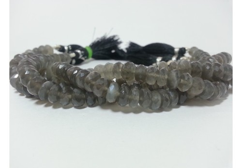 100% Natural AAA Gray Moonstone Faceted Rondelle Beads