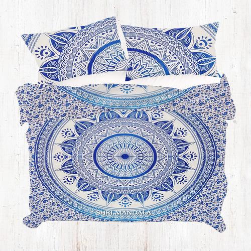 Blue Hippie Queen Size Indian Mandala Duvet Quilt Cover Set