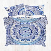 Blue Hippie Queen Size Indian Mandala Duvet Quilt Cover Set