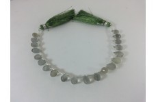 100% Natural Gray Moonstone Teardrop Shaped Beads Strand