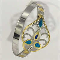 Stone Studded Silver Bangles