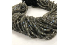 100% Natural Labradorite Faceted Rondelle Beads Strand 3.5-4.5mm