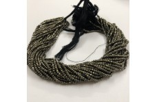 100% Natural Pyrite Faceted Rondelle Beads Strand 3-4mm