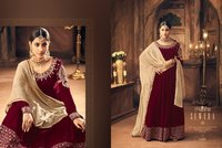 Party Wear Velvet Anarkali Suit