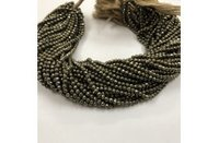 100% Natural Pyrite Faceted Round Ball Beads Strand 3.5-4mm