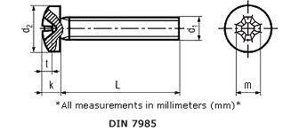 Pan Phillips MC Screw DIN 7985