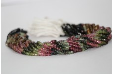 100% Natural Watermelon Tourmaline Faceted Rondelle Beads 4-5mm