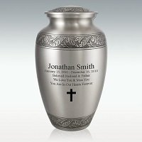 Leaf Medallion Brass Cremation Urn Engravable