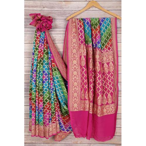 Bandhani Multicolor Saree