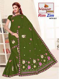 Embroidery Cotton Work Saree