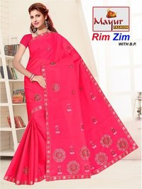 Cotton Embroidery Work Saree