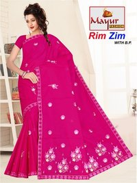 Fancy Embroidery Cotton Saree