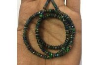 Black Ethiopian Opal Faceted Rondelle Beads Strand 3-5mm