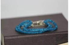 Blue Topaz Faceted Rondelle Beads 3 Strand Bracelet