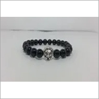 Lion Head Bracelet with Natural Black Onyx Beads