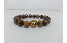 Lion Head Bracelet with Natural Tiger Eye Beads
